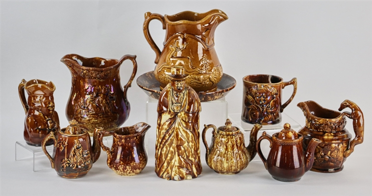 Collection of 19thC Rockingham Pottery