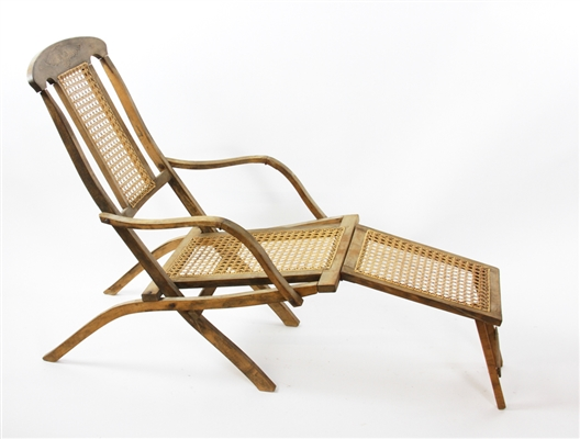 Caned Steam Liner Deck Lounge Chair