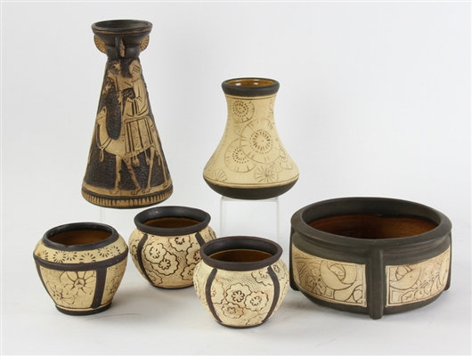 (6) Weller Pottery Claywood Burntwood Pieces