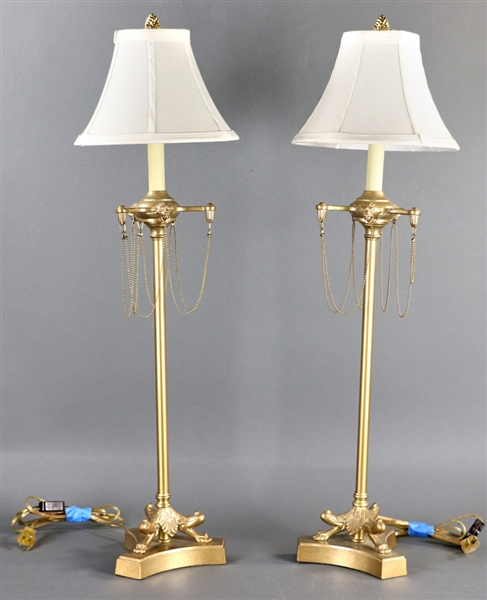 Pair of French Empire Style Brass Boudoir Lamps