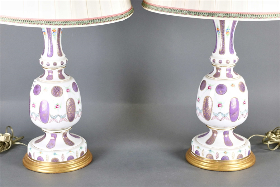 Pair of French Style Porcelain Lamps