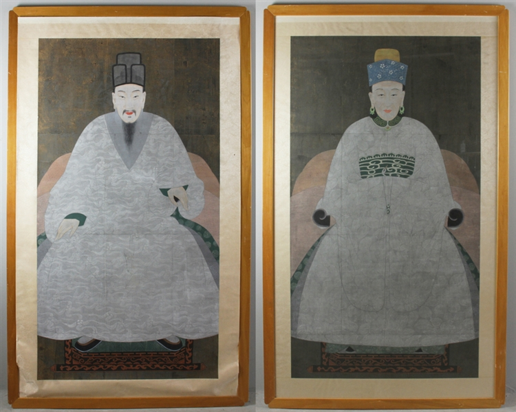 Late 19thC Japanese Portraits of Emperor and Empress