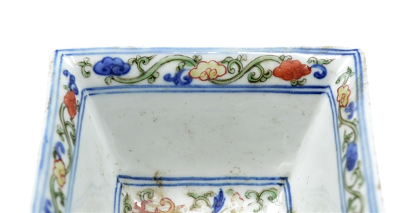 Rare Chinese Famille Verte Square Bowl
