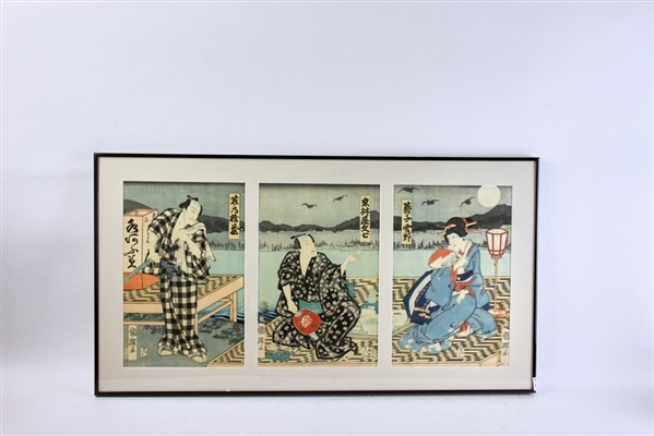 Japanese Woodblock Triptych of Actors