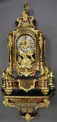 18thC French Boulle Clock and Shelf