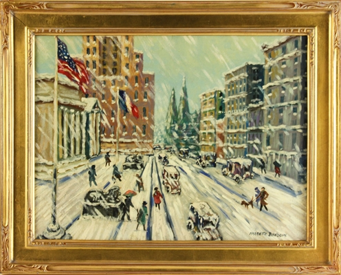 Bowdoin, Winter in New York City, Oil on Canvas
