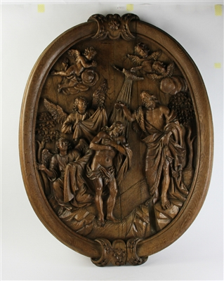 19thC Carved Wall Hanging, Baptism of Jesus