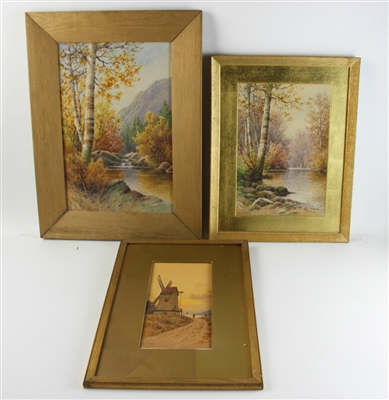(3) William Paskell Watercolors