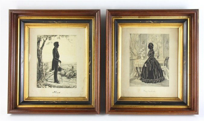 19thC Silhouettes of President Lincoln and Mrs. Lincoln