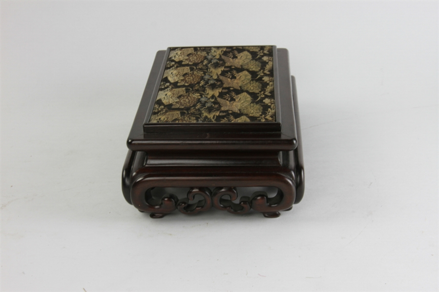 Carved Chinese Hardwood Stand, C.T. Loo