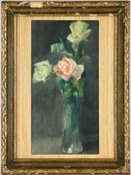 Watercolor of Roses in Vases
