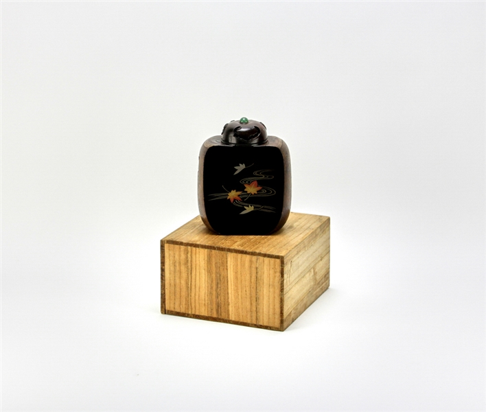 Japanese Wood Jar with Jade Fruit Top