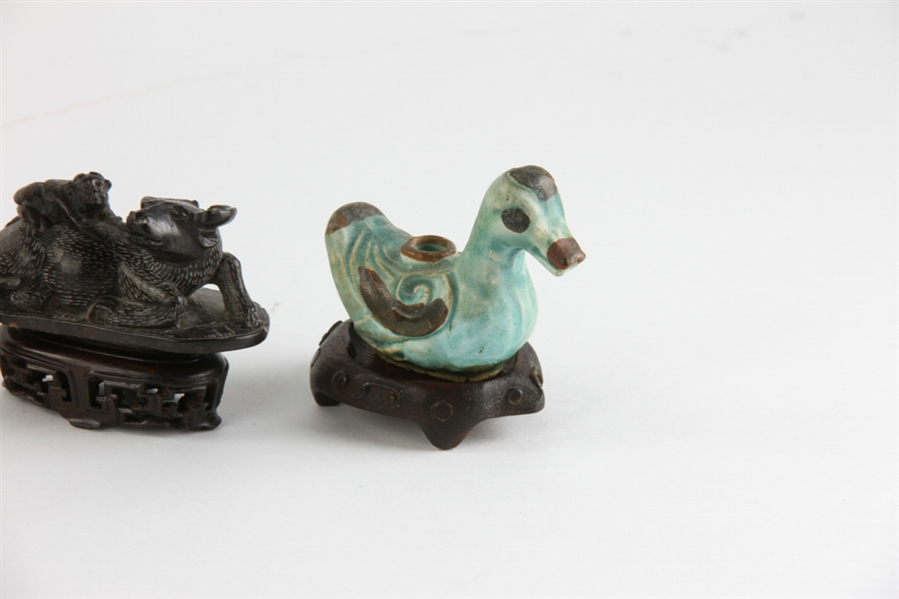 Group of Chinese Items, Foo Dog, Buffalo, Duck