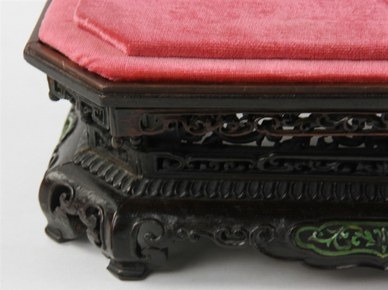 Chinese Carved Inlaid Hardwood Stand