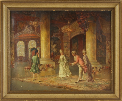 C. Muller, Music Room Interior, Oil on Canvas