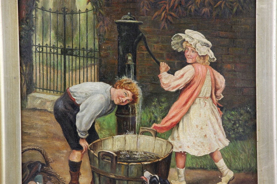 19thC Children at the Water Pump, Oil on Canvas