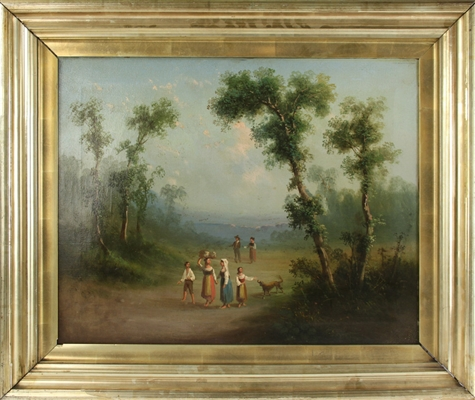 19thC Continental Woodland View, Oil on Canvas