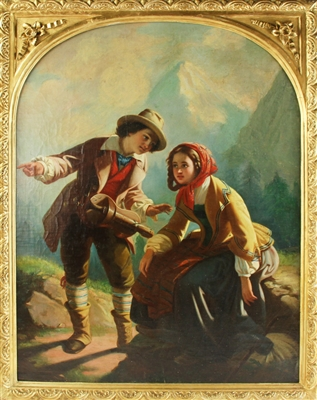 19thC Austrian, Young Hikers, Oil on Canvas