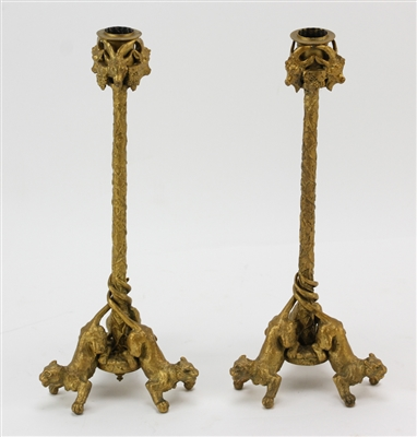 Pair of French Bronze Lion Candlesticks