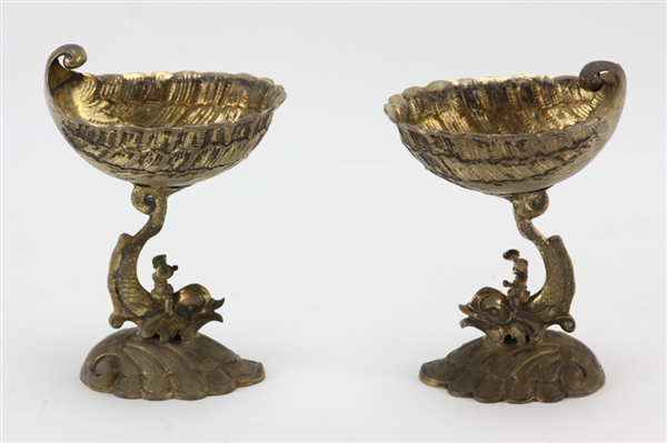Pair of German Silver Vermeil Shell Form Compotes