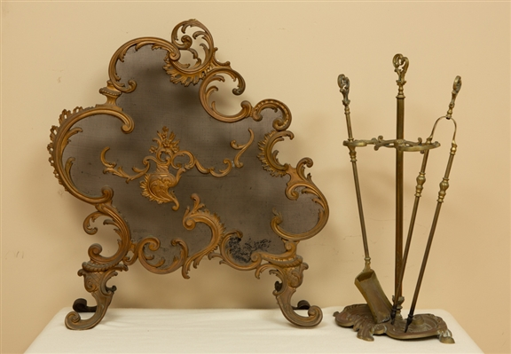 19thC French Louis XVI Fire Screen with Tools