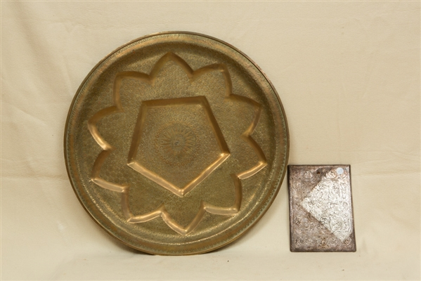 Persian Silver Mirror and Brass Charger