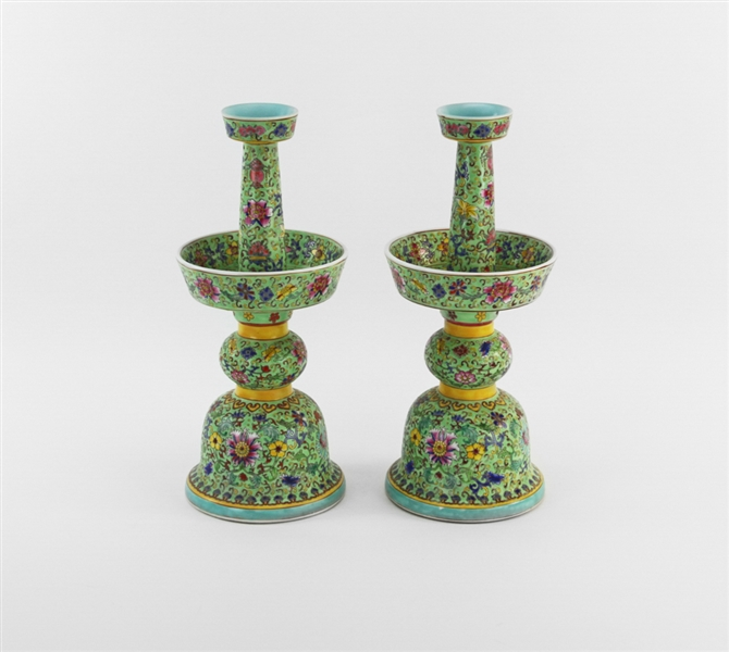 Pair of Chinese Famille Rose Candlesticks