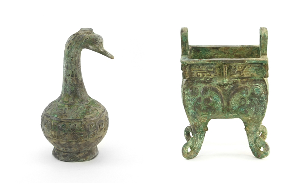 Chinese Bronze Duck Shaped Vase and Censer