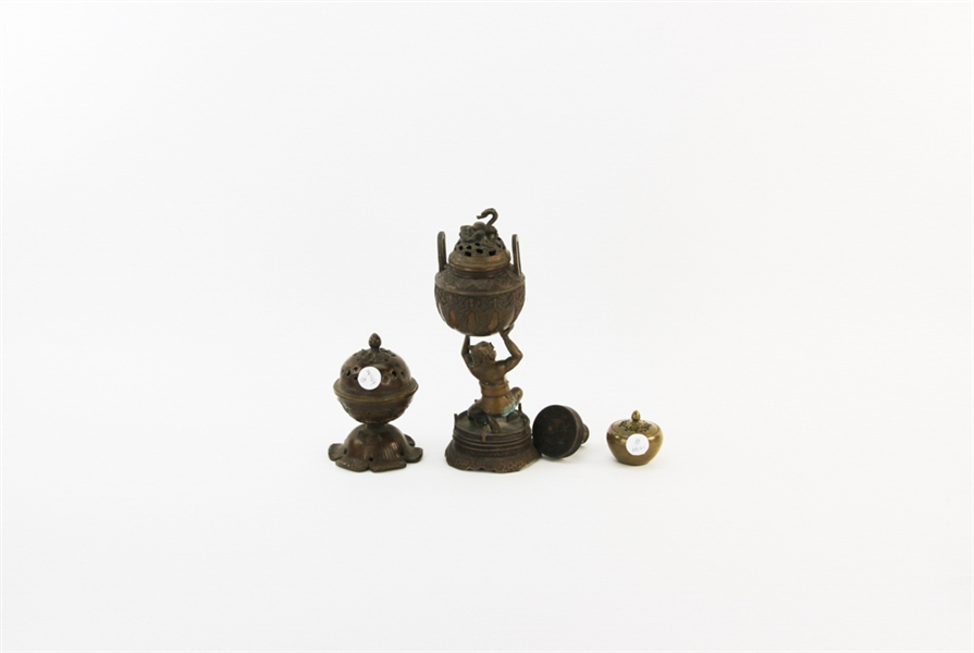 (3) Chinese Bronze Items, Seal, Censers