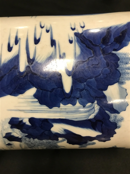 17thC Chinese Blue and White Porcelain Brush Pot