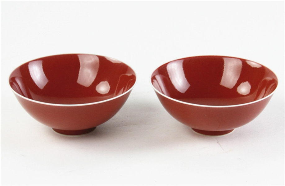 Pair of Chinese Red Glazed Porcelain Bowls