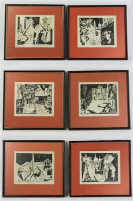French Etchings, Paris la Nuit, Series of Six