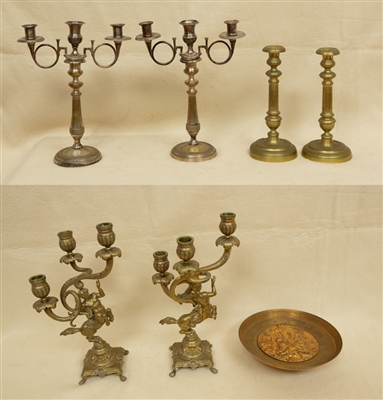 Group of Candlesticks and Dish