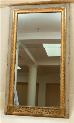 Louis XVI Green Painted Giltwood Mirror
