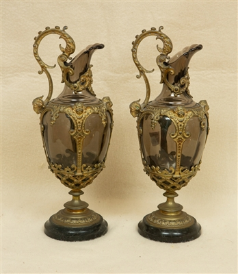 Pair of 19thC Glass Ewers with Bronze Mounts
