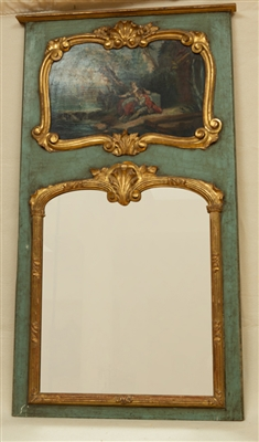 Louis XV Trumeau Mirror with Pastoral Scene