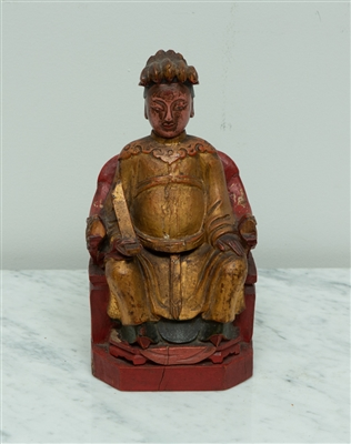 Chinese Wooden Enthroned Figure