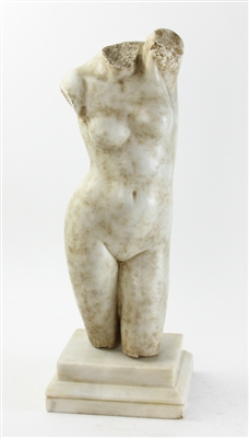 Carved Italian White Marble Torso of Venus