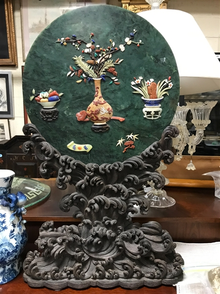 Large Chinese Spinach Green Jade Plaque