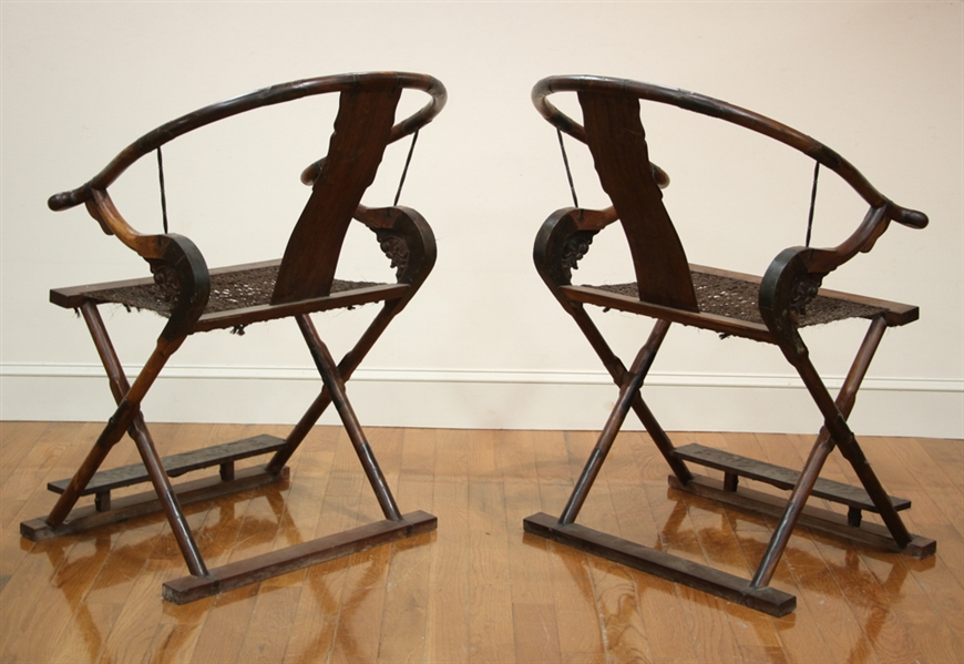 Pair of 17thC Chinese Huanghuali Folding Chairs
