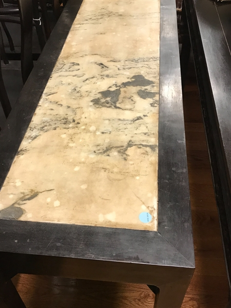 Chinese Hardwood Table with Marble