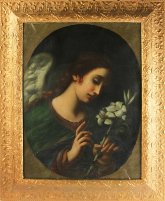 19thC Italian Angel Holding Flowers, Oil on Canvas