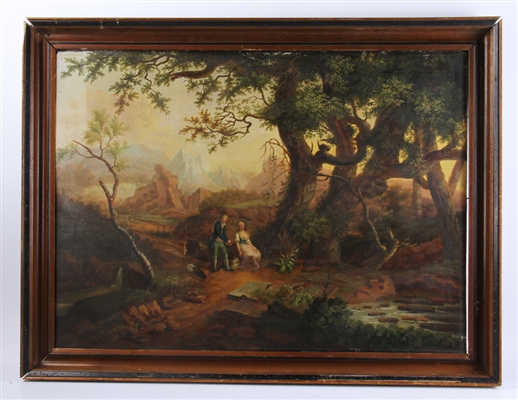 19th C Continental, Couple Under Tree, Oil on Tin