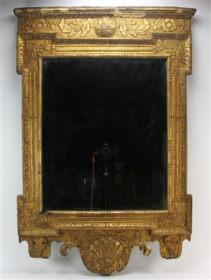 18thC English Queen Anne Giltwood Mirror