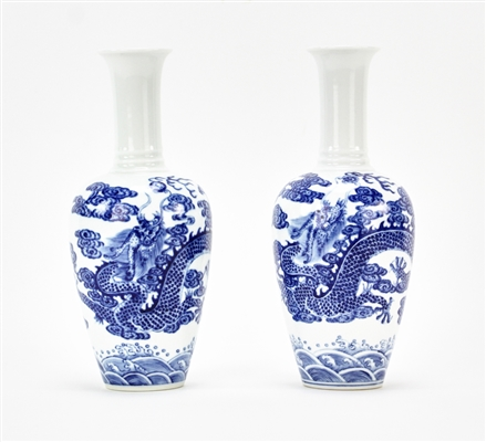 Pair of Chinese Blue and White Dragon Vases