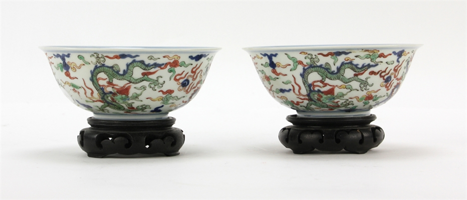 Pair of Chinese Famille Verte Porcelain Bowls