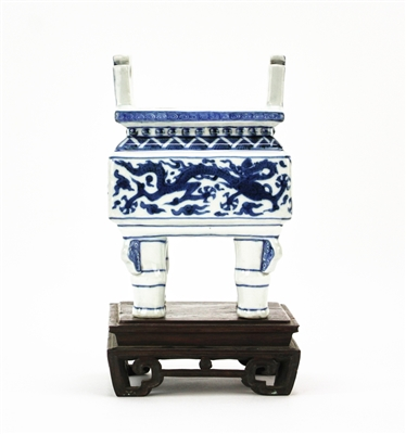 Chinese Blue and White 4-Footed Censer