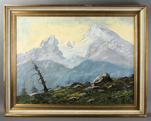 John Fery, Snow Covered Mountains, Oil on Canvas