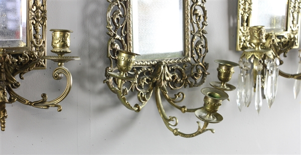 Brass Sconces with Beveled Glass Mirrors