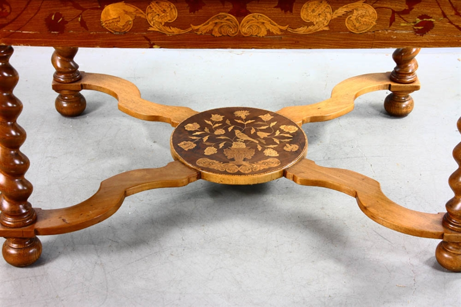 Dutch Mahogany Inlaid Single Drawer Table